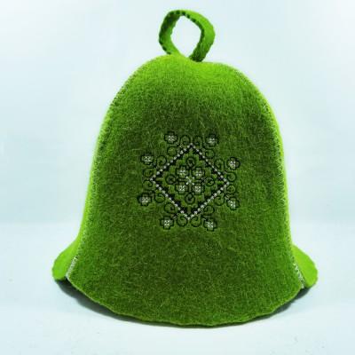 Войлочная шапка для бани с орнаментор (AK-03g) зеленого цвета