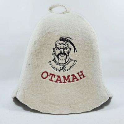 """Войлочная шапка для бани с вышивкой и надписью """"Отаман"""" (AK-07w) белого цвета"""