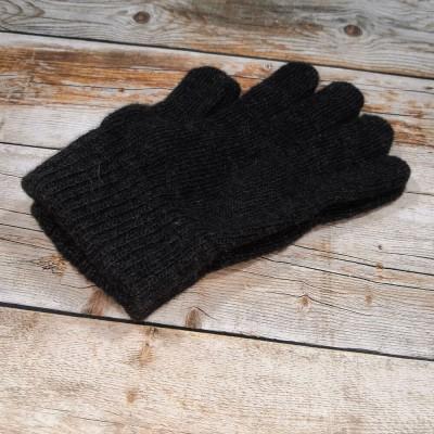 Ангоровые мужские перчатки универсального размера черного цвета (модель IPCH002)