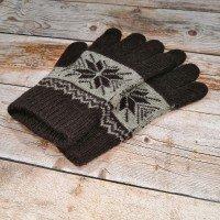 Ангоровые коричневые мужские перчатки универсального размера IPCH004