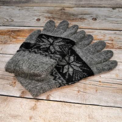Ангоровые мужские перчатки универсального размера серого цвета с орнаментом (модель IPCH005)