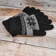Ангоровые черные мужские перчатки универсального размера IPCH006