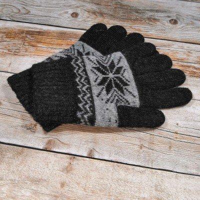 Ангоровые мужские перчатки универсального размера черного цвета с орнаментом (модель IPCH006)