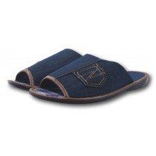 Комнатные мужские джинсовые тапочки БЕЛСТА (BELSTA) с обшитой пятой B2302 синие