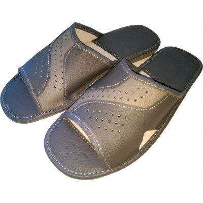 Комнатные мужские кожаные тапочки Cobi-m (модель C415-04)
