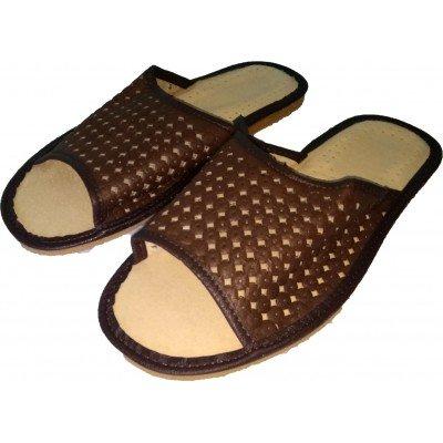 Комнатные мужские кожаные тапочки Nowbut (модель N399)