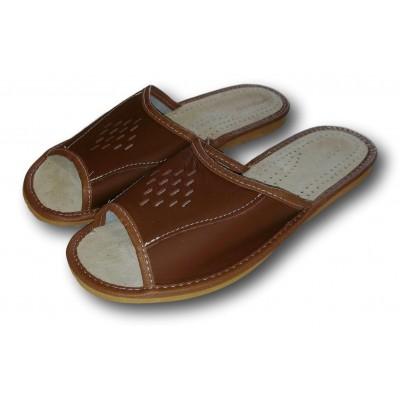 Комнатные мужские кожаные тапочки Nowbut (модель N402)
