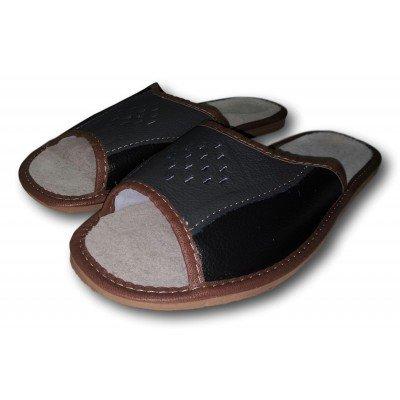 Комнатные мужские кожаные тапочки Nowbut (модель N404)