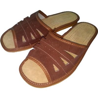 Комнатные мужские кожаные тапочки Nowbut (модель N405)