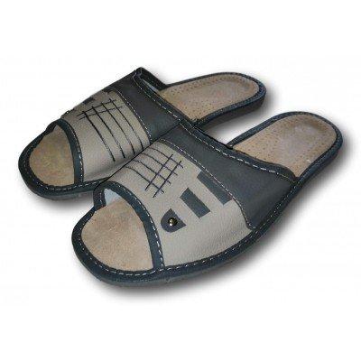 Комнатные мужские кожаные тапочки Nowbut (модель N426)