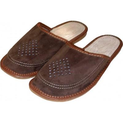 Комнатные мужские кожаные тапочки Nowbut (модель N507)