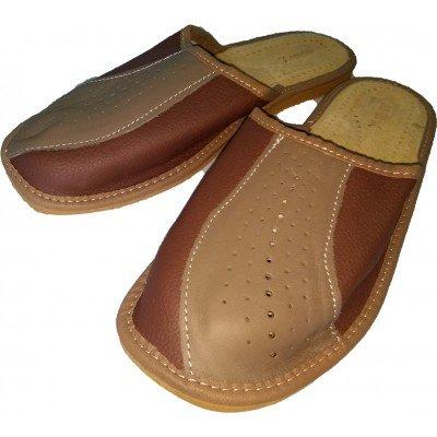 Комнатные мужские кожаные тапочки Nowbut  (модель N518)