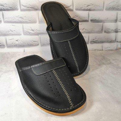 Комнатные мужские кожаные тапочки Polmar 40 размер 26 см (модель P044)