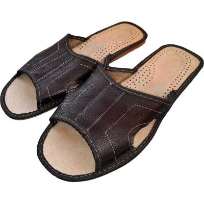 Комнатные мужские кожаные тапочки Polmar 46 размера 30,5 см (модель P103-03)