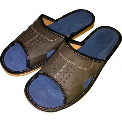Комнатные мужские кожаные тапочки Polmar 40 размера 26 см (модель P103)