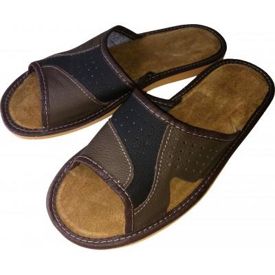 Комнатные мужские кожаные тапочки Polmar 46 размер 30,5 cм (модель P146)