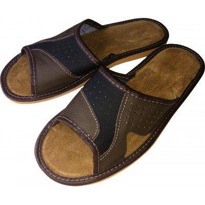 Комнатные мужские кожаные тапочки Polmar (модель P146)