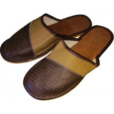 Комнатные мужские кожаные тапочки Polmar 40 размер 26 см (модель P153)