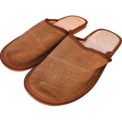 Комнатные мужские кожаные тапочки Polmar 45 размер 30 cм (модель P17-04)