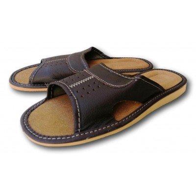 Комнатные мужские кожаные тапочки Polmar 43 размера 28,2 см (модель P203)
