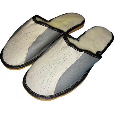 Мужские кожаные утепленные домашние тапочки Polmar (модель P208)