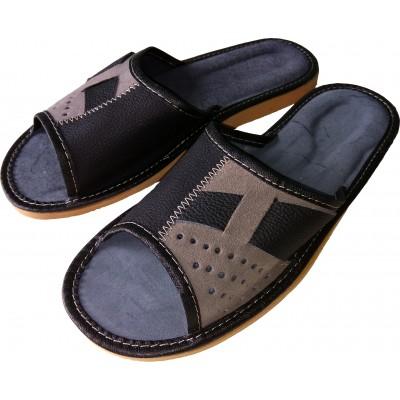Комнатные мужские кожаные тапочки Polmar 40 размер 26 cм (модель P220)