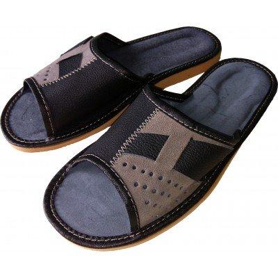 Комнатные мужские кожаные тапочки Polmar 45 размер 30 cм (модель P220g)
