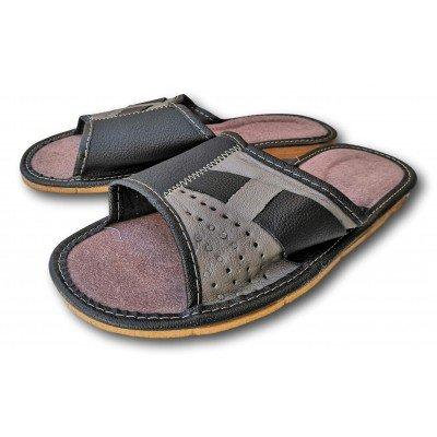 Комнатные мужские кожаные тапочки Polmar 40 размер 25,5 cм (модель P220br)