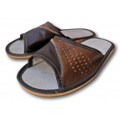 Комнатные мужские кожаные тапочки Polmar 40 размера 26 см (модель P228)