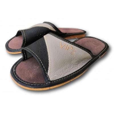 Комнатные мужские кожаные тапочки Polmar 46 размера 30,5 см (модель P229br)