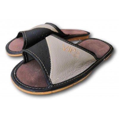 Комнатные мужские кожаные тапочки Polmar 45 размера 30 см (модель P229br)