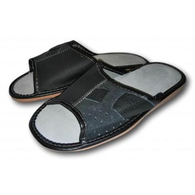 Комнатные мужские кожаные тапочки Polmar (модель P240)
