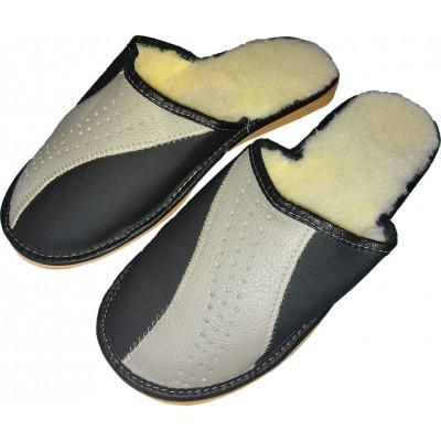 Мужские кожаные утепленные домашние тапочки Polmar 41 размера 26,5 см (модель P246)