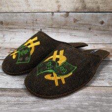 Комнатные мужские паркетные войлочные тапочки TapOK T102brw 44 размера коричневые