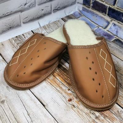 Мужские кожаные утепленные тапочки Tylbut TB208br 46 размер 29,5 см