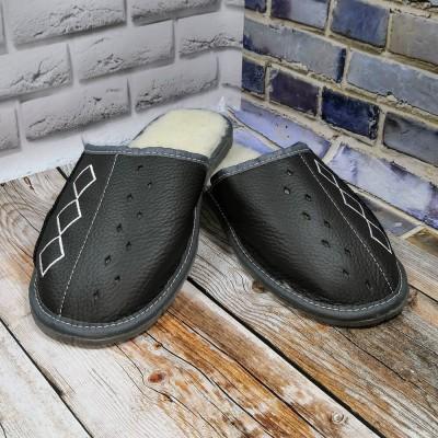 Мужские кожаные утепленные тапочки Tylbut TB208gr 40 размер 25 см