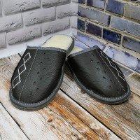 Комнатные мужские кожаные тапочки утепленные Tylbut TB208gr