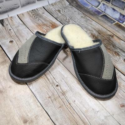 Мужские кожаные домашние тапочки утепленные Tylbut 42 размер 27 см (модель TB398)