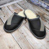 Комнатные мужские кожаные тапочки утепленные Tylbut TB398