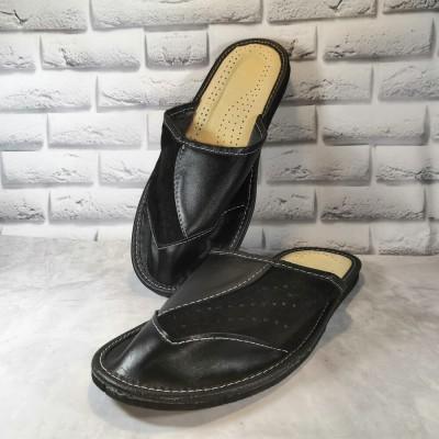 Комнатные мужские кожаные тапочки Tylbut (модель TB398bl)