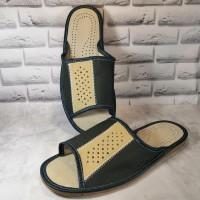 Комнатные мужские кожаные тапочки Tylbut TB424