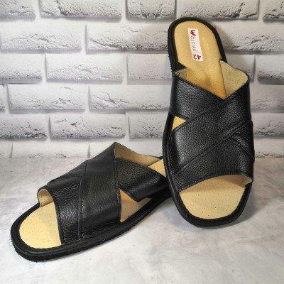 Комнатные мужские кожаные тапочки Wojciak 44 размер 28,5 см (модель W253bl)