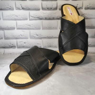 Комнатные мужские кожаные тапочки Wojciak 40 размер 26 см (модель W253br)
