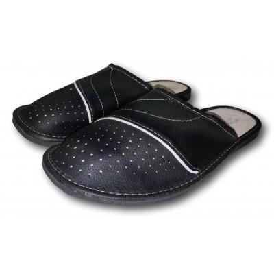 Комнатные мужские кожаные тапочки Fajne Buty 41 размера 26,5 см (модель FB139)
