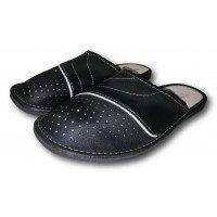 Комнатные мужские кожаные тапочки Fajne Buty FB139