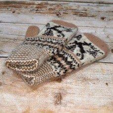 Дитячі коричневі ангорові рукавиці з орнаментом IVD002
