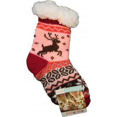 Детские теплые тапки-носки с силиконовыми вставками на подошве Emi Ross 32-35 размера 20 см (модель EJ-6208-r)