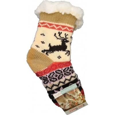 Детские теплые тапки-носки с силиконовыми вставками на подошве Emi Ross 32-35 размера 20 см (модель EJ-6208-y)