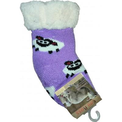 Детские теплые тапки-носки с силиконовыми вставками на подошве Emi Ross (модель EJ-6812-v)