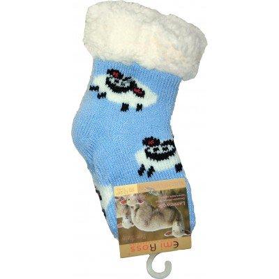 Детские теплые тапки-носки с силиконовыми вставками на подошве Emi Ross 14-14,5 размера 0-12 месяцев (модель EJ-6812-bl)